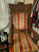 Antique Medieval Kings Throne Chair Original Hand Carved Solid Oak Heavily Carve