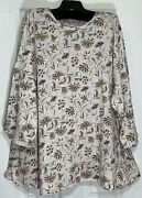 Pure J Jill Women Plus Size Top 2x Stretch Rounded Bottom / Sleeve Floral New