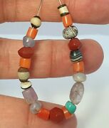21 Ancient And Antique Beads Agate, Jasper, Amethyst, Coral, Blue Chalcedony