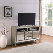 Limonite Modern Silver Mirrored Wood Tv Stand