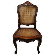 Vintage 20th Century Walnut Wood Cane Colonial Style London Office Chair