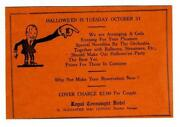 Royal Connaught Hotel Windsor Canada 1939 Halloween Party Announcement Card