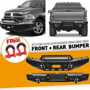 Front+rear Bumper With Led Lights And D-rings For 2010-2018 Dodge Ram 2500 3500