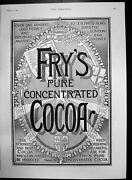 Old Antique Print Frys Pure Concentrated Cocoa Strongest Best Cocoa 1896 19th