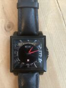 Relic Square Auto 23j Silver Numerals Red Hands Black Dial Mens Watch