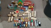 Lot Of 140 Pcs Thomas The Train And Friends Wooden Trains Engines Bridges Tracks