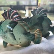 Salt And Pepper Shakers Vintage From Japan Green Tropical Fish