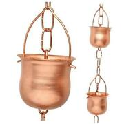 Copper Rain Chain – Decorative Chimes And Cups Replace Gutter Downspout 6.5 Feet