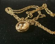 Beautiful 9ct Gold Vintage Nest Charm With Eggs Rare