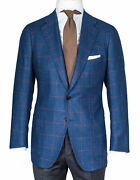 Cesare Attolini Jacket Blue With Brown Check Patch Pockets - Wool/silk