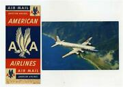 American Airlines Dc-7 Flagship Postcard + Baggage Sticker And Air Mail Stickers