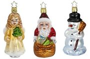 Merry Christmas 3 Piece Set Glass Ornaments Inge Made In Germany Angel Santa