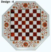 18and039and039 Antique White Marble Chess Table Top Inlay Children Game Jhf