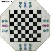 18and039and039 Antique White Marble Chess Table Top Inlay Children Game Ysr