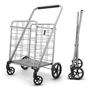 Newly Released Grocery Utility Flat Folding Shopping Cartwith 360° Large