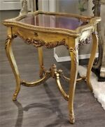 Antique Vtg French Louis Xv Style Carved Gilt Wood Vitrine Curio Display Table
