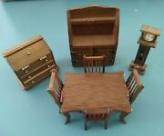 2, Vintage Dollhouse 8 Piece Dining Set, Hutch, Secretary Desk, Table And Chairs