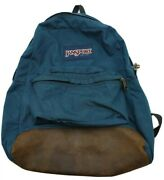 Vtg 80s 90s Jansport Leather Bottom Backpack Day Pack Made In Usa Trail Blue