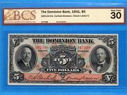 5 1931 The Dominion Bank Canada Chartered Note 220-24-04 - Bcs Vf-30