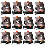 12-pack 3″ Led Gimbal Square Recessed Light With J-box, 2700k, Oil Rubbed Bronze
