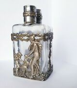 2 X Antique Solid Silver Italian Large Perfume Bottles. Stunning 1920and039s Rare