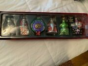 Disney Store Nightmare Before Christmas Blown Glass Ornaments Set 6 In Box