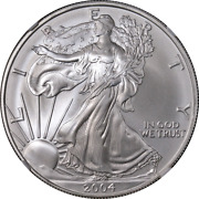 2004 Silver American Eagle 1 Ngc Ms70 Brown Label