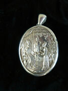 Rare Large Antique Victorian Chinese Aesthetic Sterling Silver Locket 4 Collar
