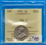 Canada 1932 Far 2 5 Cents Five Cent Nickel Coin - Tough Variety - Iccs Vf-20