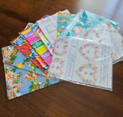 Happy Birthday Vintage Wrapping Paper Lot Gift Balloons Animals Floral
