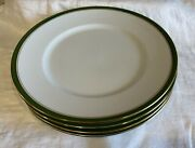Four Raynaud And Co. Limoges China Diplomat Green Gold Rim Dinner Plates