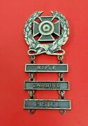 Us Army Sterling Expert Marksman Qualification Badge Three Tabs