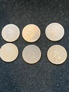 6 Piece Lot 1866 Indian Head Pennies In G- To G+