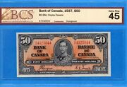 50 1937 Bank Of Canada Note Coyne-towers B/h Bc-26c - Bcs Ef-45