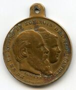1879 King William Iii And Queen Emma Marriage Netherlands Medal - Aq810