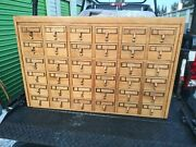 Vintage Wood 36 Drawer Library Card Catalog Cabinet Library Index File Cabinet