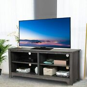 Farmhouse Tv Stand W/storage Shelf Console Table For Tvs Up To 65 Dark Grey