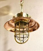 Replica Vintage Style Brass Hanging Cargo Light With Copper Shade Lot Of 5