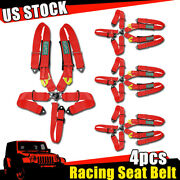4x 5-point Cam Lock Red Nylon Safety Harness Racing Seat Belt Strap Universal Us