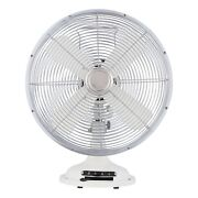 Table Cooling Fan Retro 3-speed Metal Adjustable White