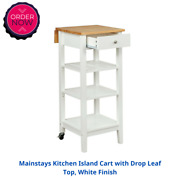 Mainstays Kitchen Island Cart With Drop Leaf Top White Finish