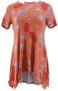 Logo Lori Goldstein Printed Knit Top Twin Set Red Clay L New A302440
