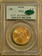 1901 Pcgs Ms64 10 Liberty Gold Eagle - Old Green Holder - Cac Stickered