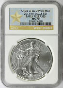 2013-w 1 American Silver Eagle Ngc Ms70 Early Releases Struck At West Point