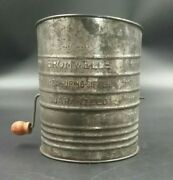 Vintage Bromwell's 5 Cup Tin Metal Screen Flour Sifter Red Wood Knob Farmhouse