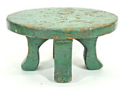 Antique Unique Milking Stool Primitive Hand Made Wood Sturdy Solid Wooden Old