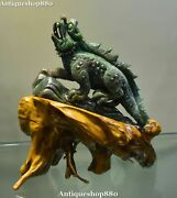 China Famous Dushan Green Jade Carving Lizard Lacertid Lacertilian Animal Statue