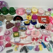 Vintage Barbie Doll Accessories Lot Of 103 Hangers Hats Purses Glasses And More
