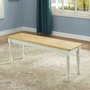 New Autumn Lane Farmhouse Solid Wood Dining Bench White And Natural Finish