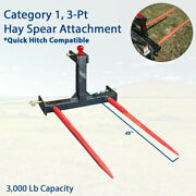 3 Point Tractor Hitch W/49 Hay Bale Spear Attachment Heavy Duty Quick Attach Us